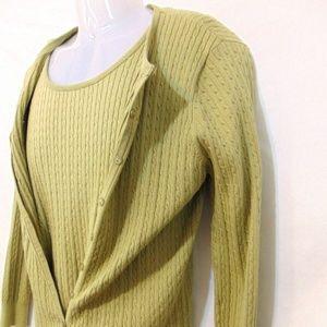 PECK & PECK 2 Pc. Cable Knit Cardigan/Vest Sage